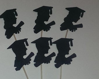 12 Graduation Silhouette, Party Picks - Cupcake Topper - Toothpicks - Food Picks Die Cut Punch Cardstock Boy, Girl Grad , Graduation