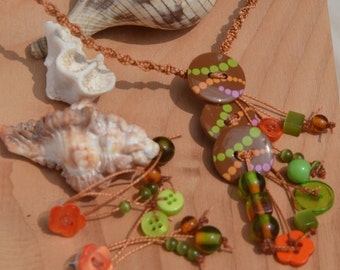 set necklace and earrings with buttons