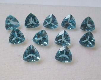10mm Trillion Natural genuine SWISS BLUE TOPAZ Trillion top cut faceted gemstone.....