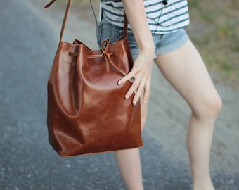 BUCKET BAG, brown leather tote bag,   handmade leather bag, leather shoulder bag