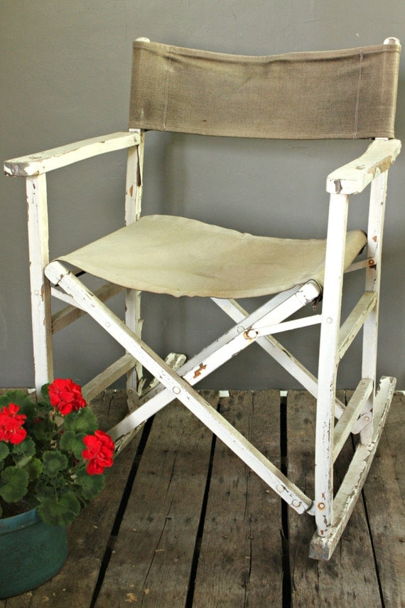 Folding Rocking Chair Vintage Wooden Rocker Outdoor Canvas