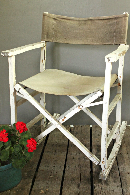 Folding Rocking Chair Vintage Wooden Rocker Outdoor Canvas