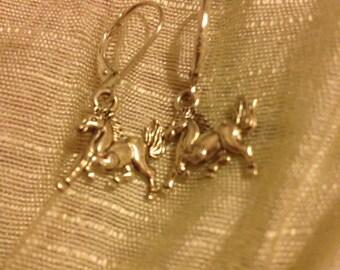 Beautiful Silver Horse Earrings on Lever Backs