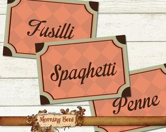 Pasta labels Printable Set Of 30 designs - Measures 2.5 x 1.7 inch - Pantry jar label Digital tag Pasta varieties Italian food Display label
