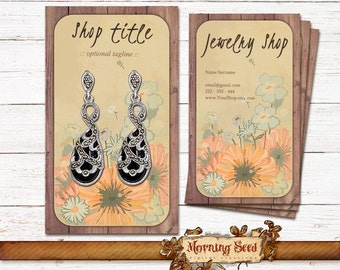 Jewelry holder card 2 in 1 Editable business cards Jewelry packaging - Business card template - Vertical Jewelry tags