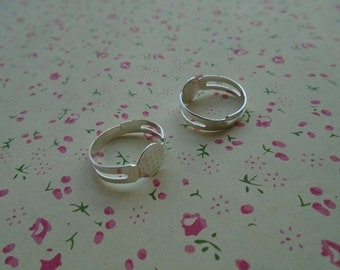 50pcs Adjustable Silver Color Ring Blanks 8mmx8mm