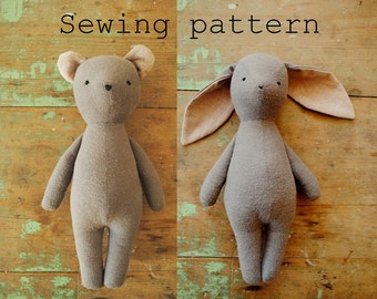 Soft toy sewing pattern / bunny rabbit or bear stuffed animal doll / PDF tutorial by Willowynn