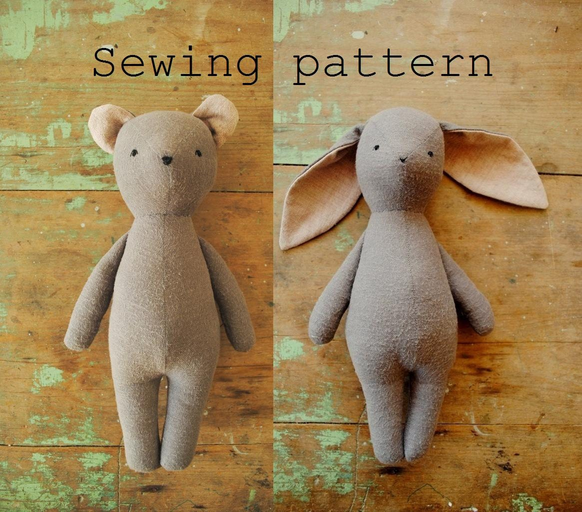 Soft Toy Patterns : Soft toy sewing pattern bunny or bear doll pdf tutorial by