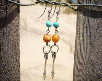 Turquoise Howlite and wooden Beaded Dangle Arrow Earrings