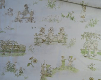 "Half Yard of 2014 (31007-10) Lecien Kate Greenaway Fabric on Off White Background. Approx. 18"" x 44""  Made in Japan"