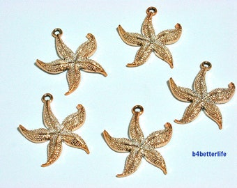 """Lot of 20pcs """"Starfish"""" Gold Color Plated Metal Charms. #SW2679."""