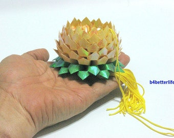 A Piece of Medium Size Yellow Color Origami Hanging Lotus. (TX paper series).