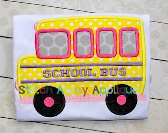 School Bus Back to School Machine Applique Design
