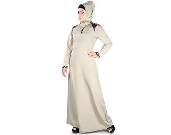 MyBatua Women's  simple Abaya with brocade detailing at shoulder and sleeves AY-386, ladies long maxi dress, islamic burqa and Jilbab online