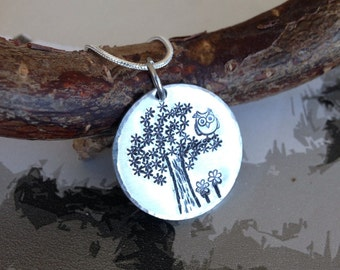 Owl Necklace - Owl Jewellery - Hand stamped Owl necklace - Handmade Owl jewellery - Hand stamped necklace - Gift for Friend - Gift for her