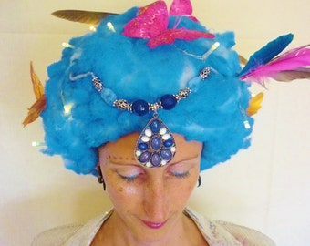 Blue Butterfly Wig With Lights.
