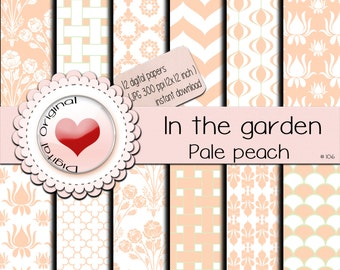 Digital papers / In the garden / Pale peach / 12 sheets / 300 ppi / instant download /#106