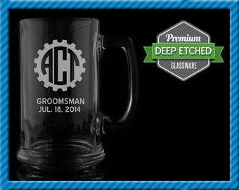 Groomsmen Gift, Personalized Beer Mugs, Personalized Gear Monogram 16 oz Etched Mugs, Groomsmen Gift, Etched Glassware