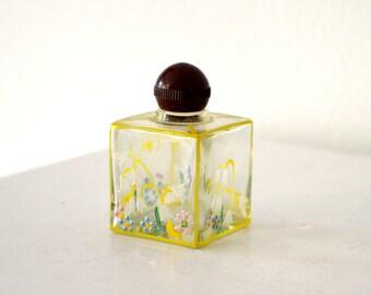 Vintage Hand Painted Perfume Bottle / Vintage Decorative Bottle / Mid Century Vintage Antique Japanese Floral Hand Painted Perfume Bottle