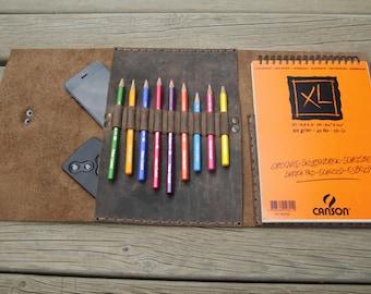 Leather Sketchbook,Strathmore sketchbook,Sketchpad,Leather ipad folio,ipad portfolio sketchbook,leather art journal
