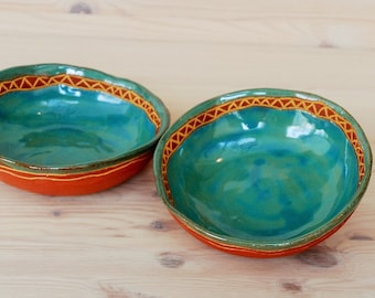 Small ceramic bowl , Turquoise dishes , Serving dishes , Trinket dish .