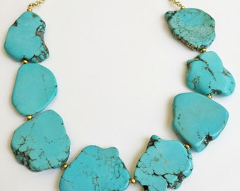 Turquoise Slab Statement Necklace
