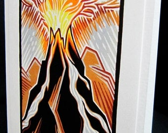 Hand pulled, woodblock printed greeting card, 'Eruption'.