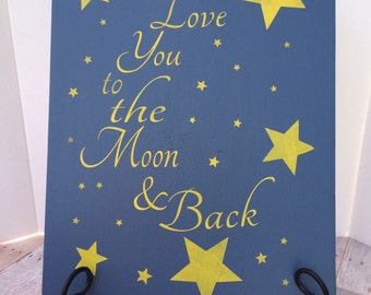 Handmade Love You to the Moon and Back Wall Hanging
