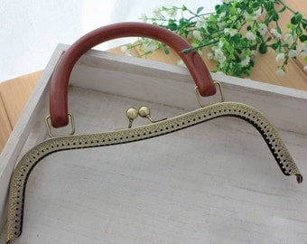 1 PCS, 26cm / 10.2 inch, Solid Wood Handle Small M Shape Kiss Clasp Lock Purse Frame