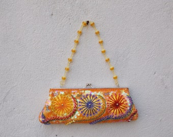 Beaded Orange Multi-color Handbag Clutch with Optional Top Handle & Shoulder Chain