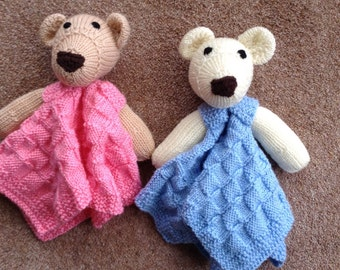 Hand knitted lovey/security blanket/ baby comfort blanket