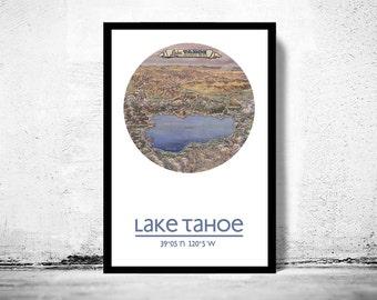 LAKE TAHOE - city poster - city map poster print