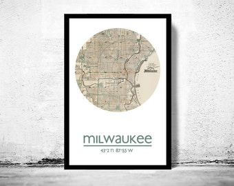MILWAUKEE - city poster - city map poster print