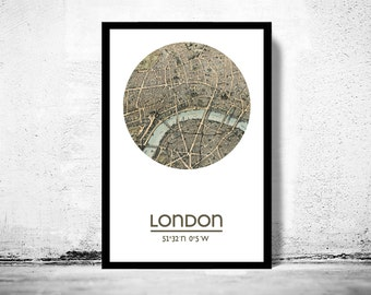 LONDON - city poster (2) - city map poster print