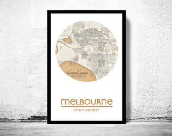 MELBOURNE - city poster - city map poster print