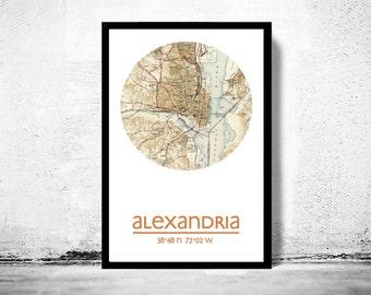 ALEXANDRIA VA - city poster - city map poster print