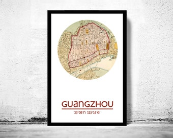 GUANGZHOU - city poster - city map poster print