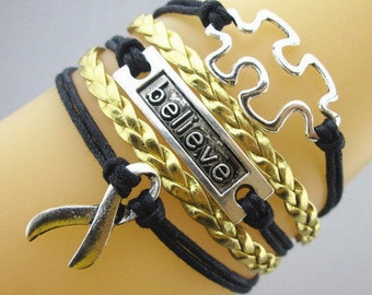 Multi-Layered Black & Gold Leather Braided Autism Puzzle Piece Bracelet