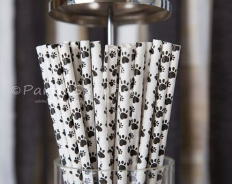 Paw Print Straws, Pawprint Straws, Dog Party Straws, Cat Party Straws, Animal Party Straws, circus zoo safari jungle party pawprint straws
