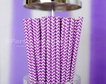 Purple Straws Chevron, Frozen Paper Drinking Straws,Purple Party Straws,Paper straws,Party Straws,kids party straws