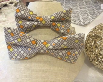 Abstract Father and Son Matching Colorful Abstract Bow Tie Set, Custom Bow Tie Order