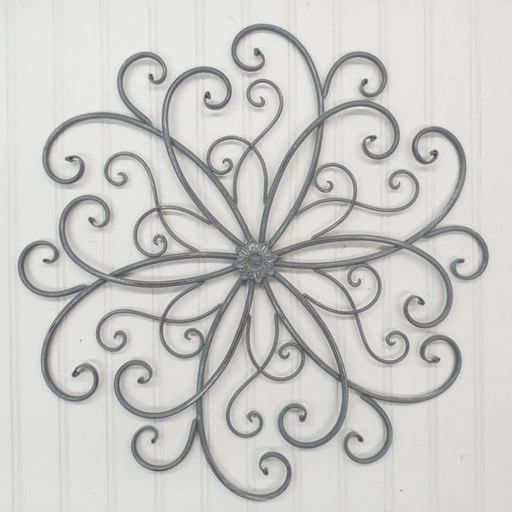 Wrought Iron Wall Sconces Flowers : Wall Decor/Wrought Iron/ Metal/ Gray/ Wall by TheShabbyStore