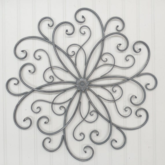Wrought Iron Wall Decor Flowers : Wall decor wrought iron metal gray by theshabbystore
