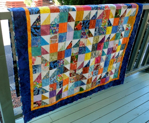 Colourful patchwork scrappy quilt, lap quilt, single bed topper, throw rug, baby quilt, home decor, modern patchwork quilt