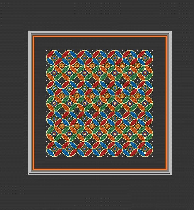 Modern pillow Cross Stitch Pattern Geometric by ZindagiDesigns