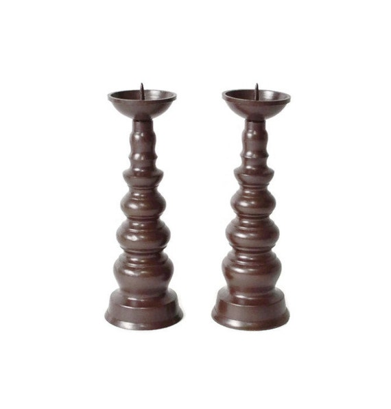 Pair Bronze Candle Holders 11cm/4.3in, Vintage Copper ...