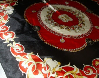 Vecceli Silk Like Scarf / Black and Red Scarf / Vintage Italian Scarf / Fashion Accessory