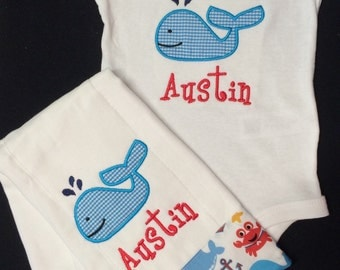 Baby Boy Monogramed and Appliqued 2 Piece Gift Set,0-3, 3-6, 6-12 and 18 months  Appliqued Whale Bodysuit and matching burpcloth
