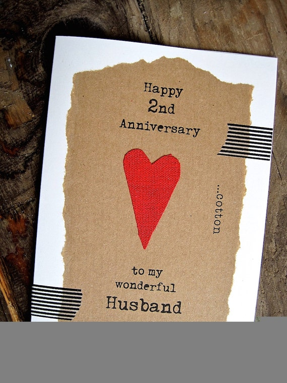 Items Similar To 2nd Anniversary Keepsake Card Husband