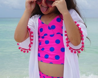 Beach cover up for girls, coverup with Pom poms, beach cover up, girls swimsuit cover up, gauze cotton coverup, swim cover up girls